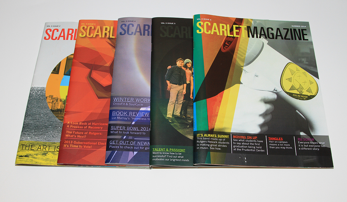 A selection of covers of Scarlet Magazine