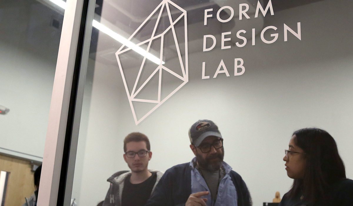 Students taking a class at the Form Design Lab at Express Newark with Professor Keary Rosen.