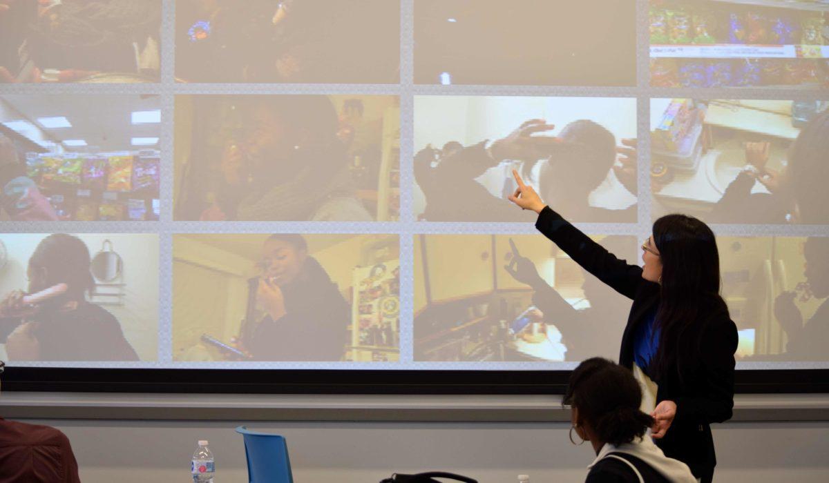 Pictured: Professor teaching a video class