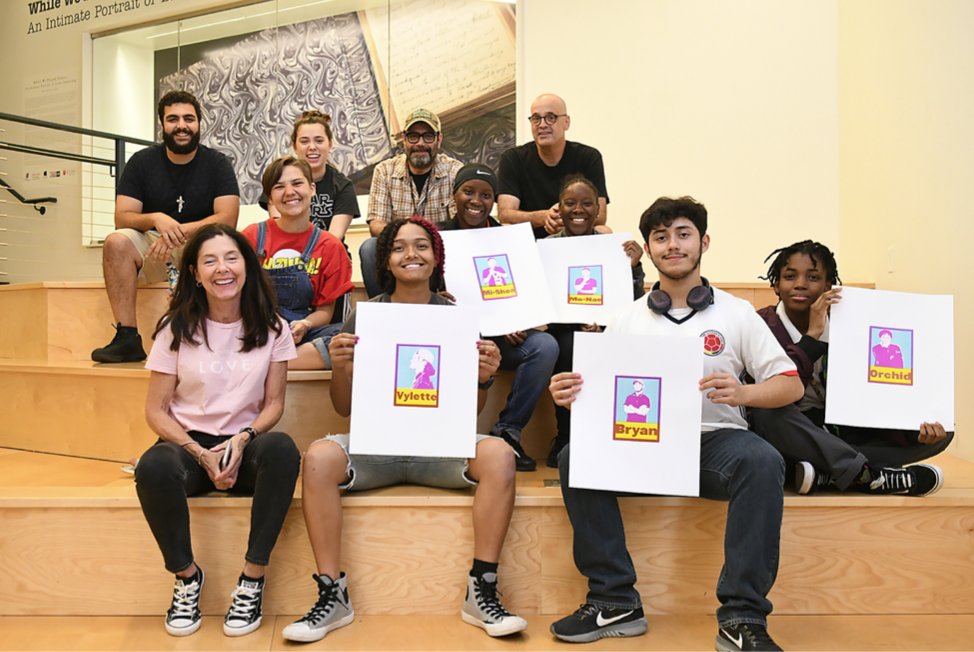 Pictured:  ACM Faculty and ACM students with local high school students at Express Newark.