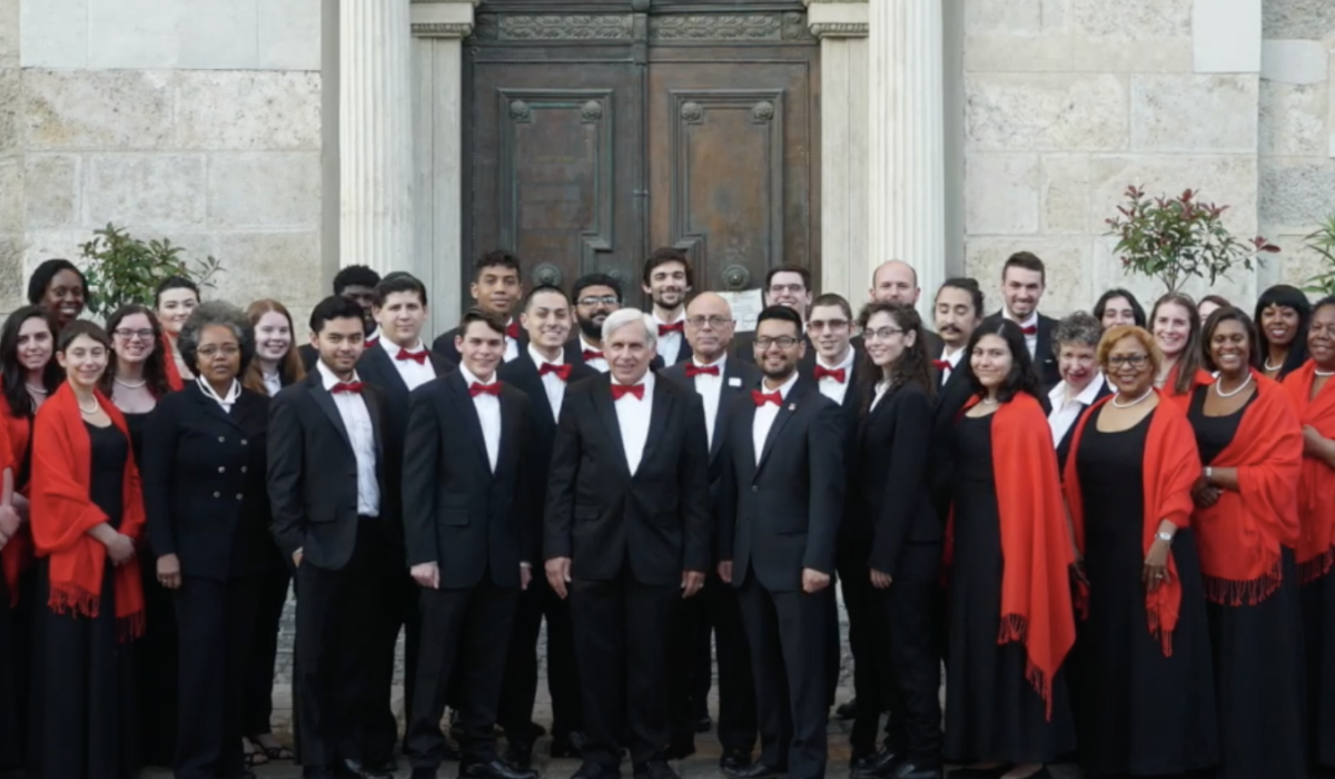 Pictured: a gathering of members of the Rutgers Newark Chorus